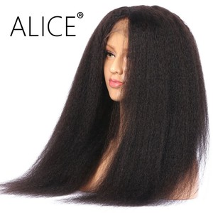 Image 2 - ALICE Kinky Straight Lace Front Human Hair Wigs Bleached Knots Brazilian no Remy Hair Glueless 13*4 With Baby Hair 130% Density