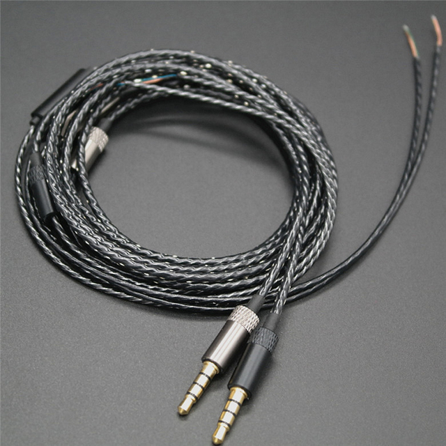 1.3m Earphone Repair Cable with Mic DIY Replacement Audio Cables 3.5 ...