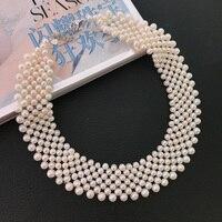 2019 Новинка 4 6 мм 7 рядов пресноводные жемчужные ожерелья для женщин маленькие жемчужины изысканные ожерелья 925 Серебряный подарок для девоч