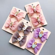 1pc Kids hair bow mermiad Ballerina clip for girls Elf angel elastic rubber ties bands barrette accessories