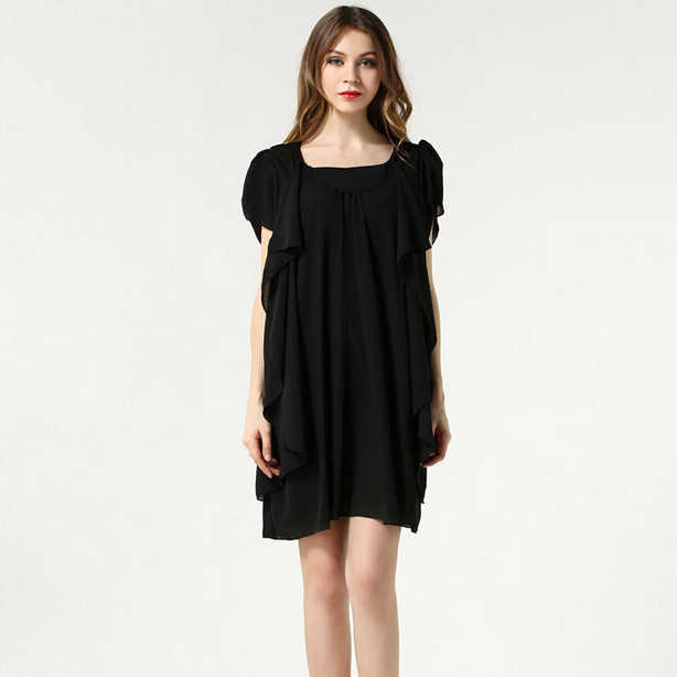 93baf4f89c9 ... Queechalle темно шифоновое платье Лето 2018 О образным вырезом  свободный рукав-бабочка платья для женщин ...