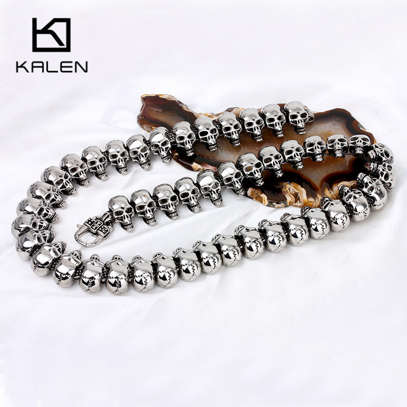 Kalen Punk Mens Statement Skull Collar Necklace Stainless Steel Skull Charm 65cm Long Necklace Rock Biker Pub Accessories Jewel