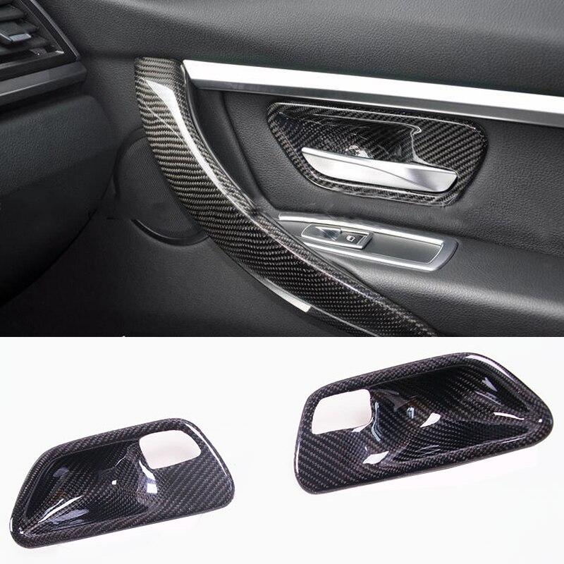Углеродного волокна салона отделка дверная ручка изящества Декоративные наклейки для BMW M3 M4 F80 F82