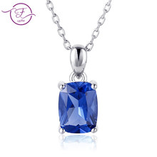 925 sterling silver pendant necklace ladies rectangular 6X8MM dark blue and emerald and light blue sliding necklace gift party(China)