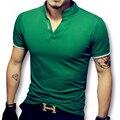 2017 Nuevo Verano Con Cuello En V Camisetas Tes de las Tapas Camiseta Hombre los hombres de Moda Casual Delgado Se Adapta A la Manga Corta Tallas Camisetas masculino