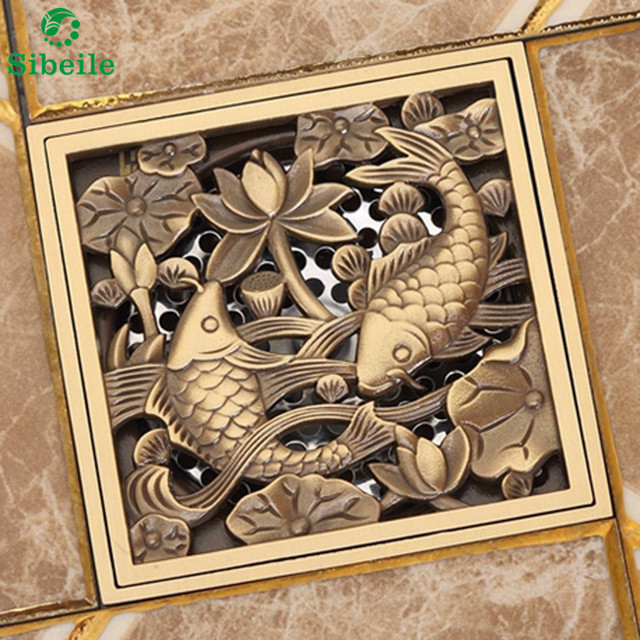SBLE Antique Brass Square Fish Floor Drain Shower Waste Grate Strainer Cover  Decorative Drainer Wholesale U0026