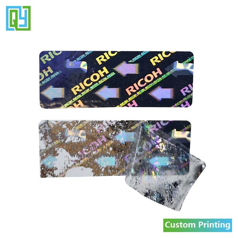10000 шт. 40x15 мм, бесплатная доставка, пользовательская 3D печать, защита от подделок, голограмма, наклейки, серебряная Лазерная Фольга, метка с п...