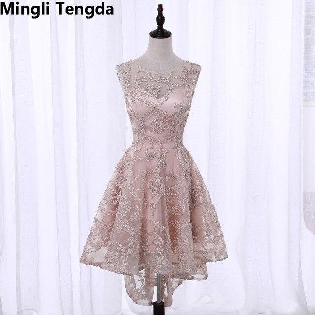 Mingli Tengda Khaki Bridesmaid Dress High Low Wedding Party Sleeveless Elegant Women Novel