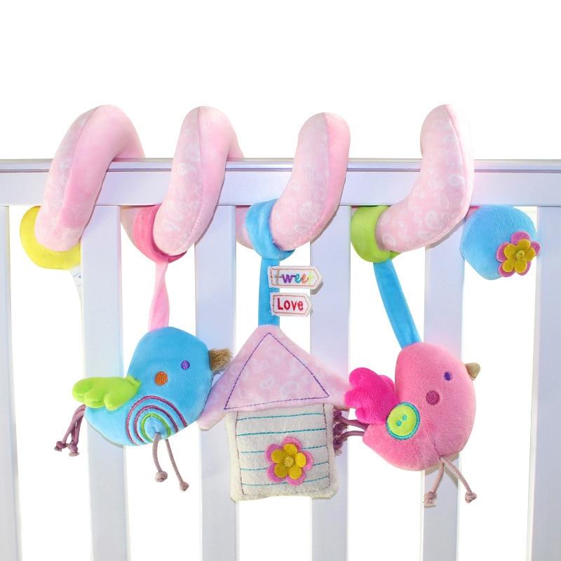 Nieuwe Leuke Vogels Muziek Spiraal Activiteit Wandelwagen Autostoel Cot Draaibank Opknoping Babyplay Reizen Pasgeboren Baby Rammelaars Baby Speelgoed WJ289