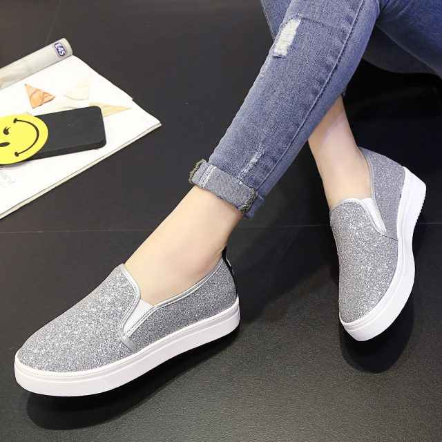 Spring Woman Flats Platform Shoes Women Loafers Slip on Flat Shoes Silver  Casual Shoes Glitter Black 9b46de423a29