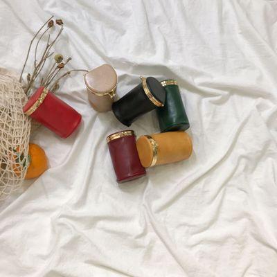 Designer Small Barrel-Shaped Bucket Bag Women Split Leather Handbags Ladies Messenger Shoulder Bags For Female Small