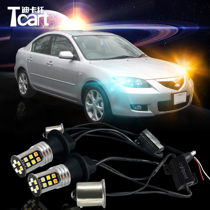 Tcart Car LED DRL&Turn Signal Light for Mazda 3 2003-2009 accessories  auto LED Daytime running light car turnlight tcart 1 set auto led bulbs car drl daytime running lights night drl yellow turn signals lamps py21w bau15s for mazda 3 2003 2009
