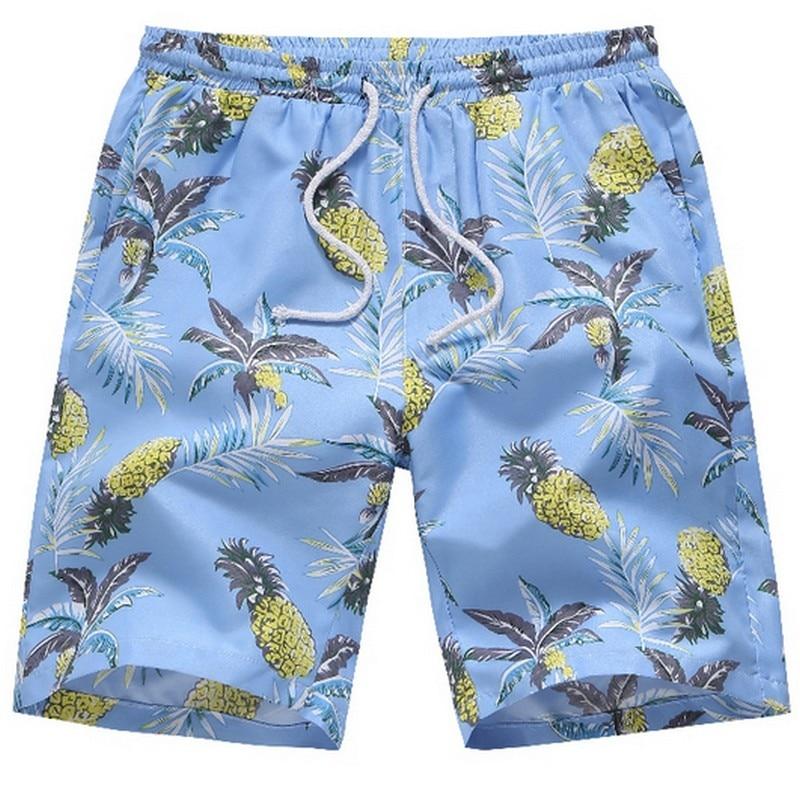 Casual Hawaiian Beach Shorts Men's Printed Pineapple Swimwear Loose Breathable Short Pants Plus Size S-4xl