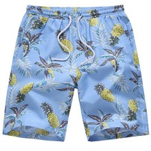 Casual Hawaiian Beach Shorts Mens Printed Pineapple Swimwear Loose Breathable Short Pants PLUS SIZE S-4XL