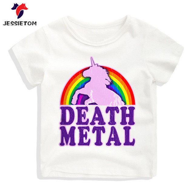 7fec4a05 Boy and Girl Print Rainbow Unicorn Death Metal T shirt Kid Short O Neck  Soft Tops Tees Children Funny Clothes Baby Camisetas
