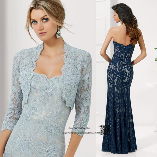 Vestidos de noche azul marino con plata