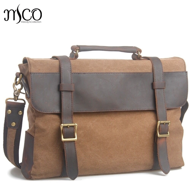 Male Vintage Canvas Briefcase Leather Handbag Tote Endland Style Men  Messenger Bags Shoulder Laptop Bag Military Leisure bag 5dfcdf2705