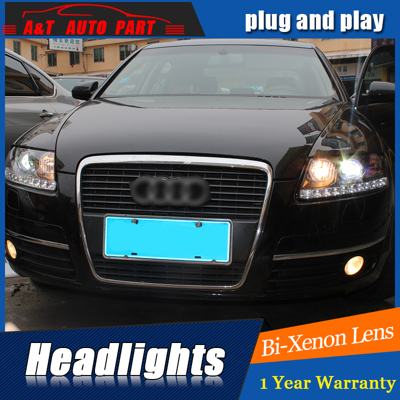 Car Styling for Audi A6 C5 Headlights 2005 2012 for A6 LED Headlamp DRL Lens Double Beam H7 HID Xenon bi xenon lens front light