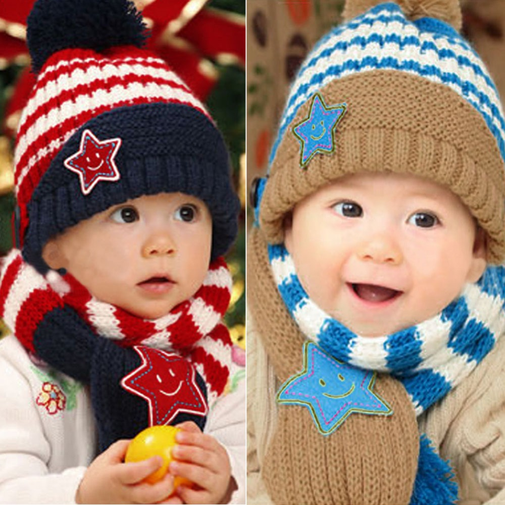 Lovely Winter Warm Children Skullies Beanies Caps 2pcs/set Kids 5 Star Printed Scarf Hat Set Baby Boys Girls Knitted Hats Caps