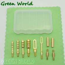 Green World 11 шт./лот. 22cal-. 45cal набор кистей для чистки пистолета из латуни с острым наконечником, шлицевые накладные петли