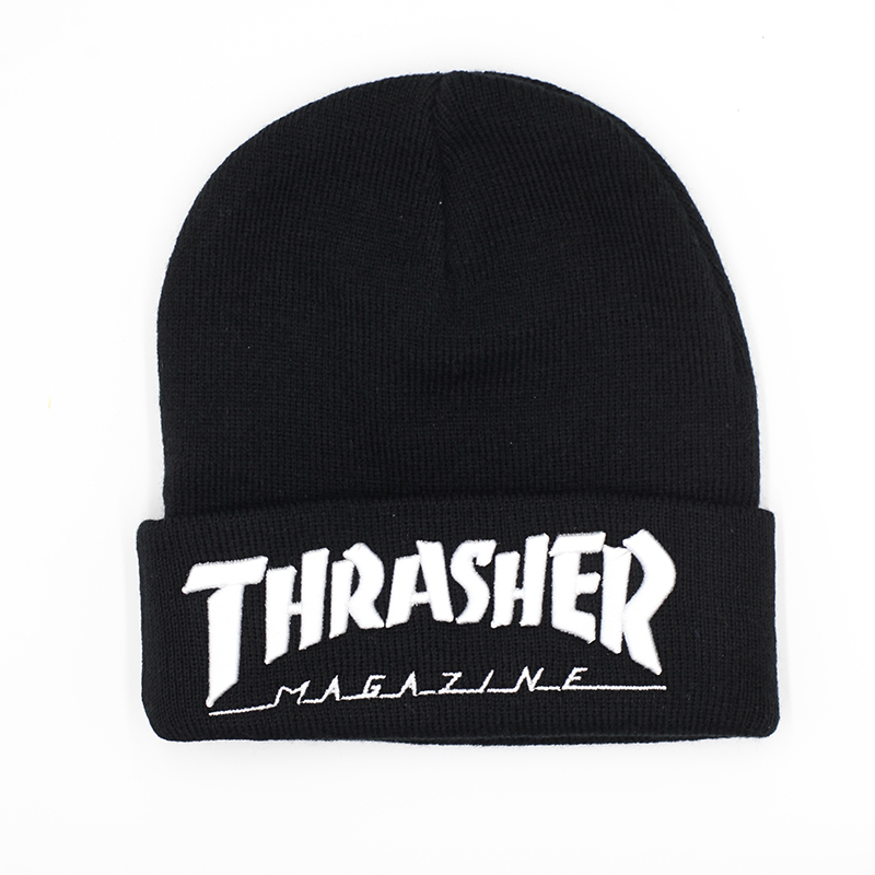 0493aeba561 2016 Brand New Fashion Thrasher Cap Beanies Hats Top Quality Cotton Winter  Bonnet Embroidery Knitted Caps Warm Hip Hop Cap