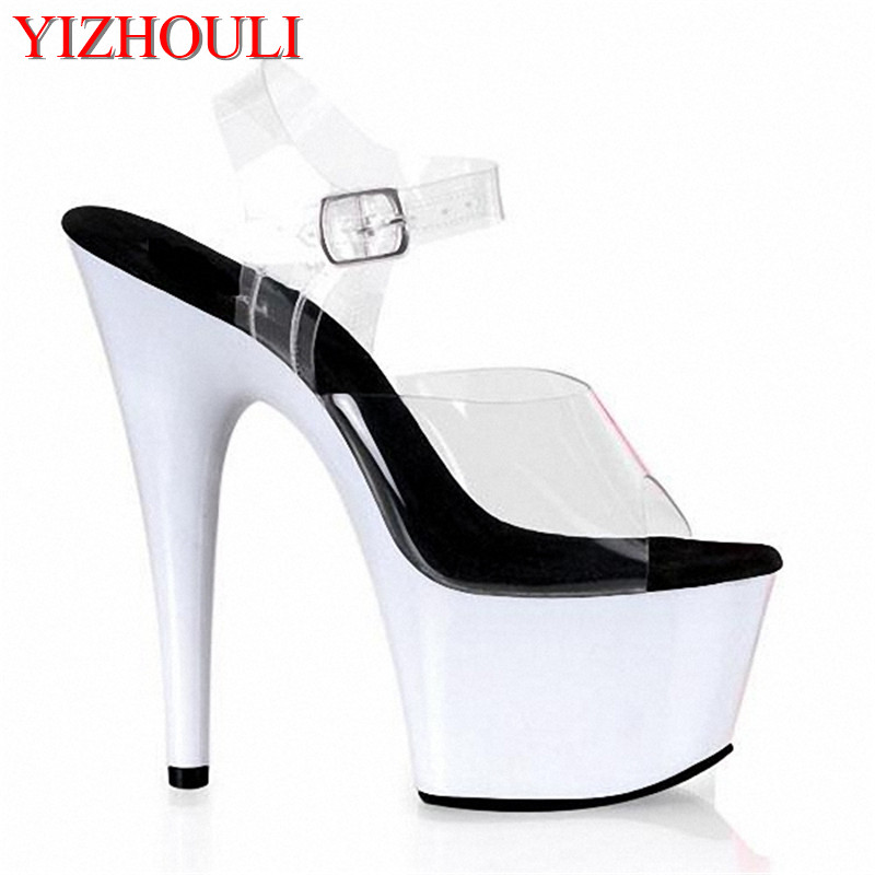 Sexy transparent white platform sandals ball 15cm princess shoes 6 Inch  Hand Made Unusual women s High Heel Shoes