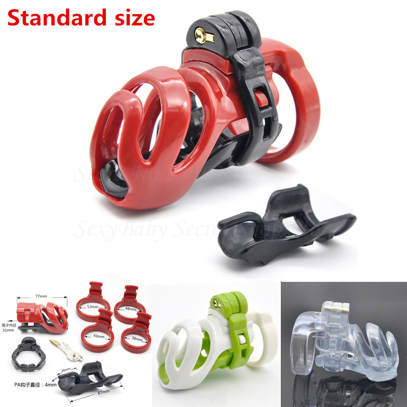 New Resin Standard Male Chastity Device Penis Lock Adult Bondage Cock Cage With 4 Size Penis Rings Chastity Belt Sex Product
