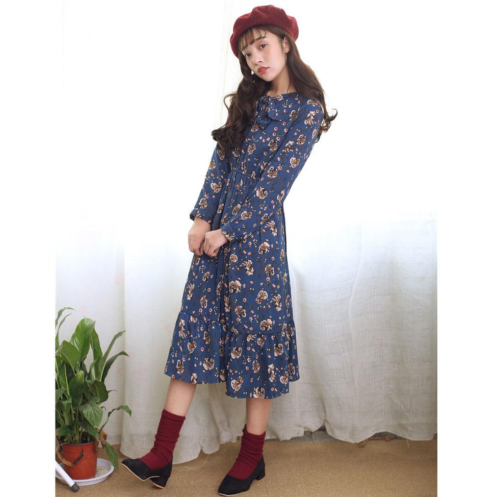 Black dress yellow sash - Spring Women Dress Print Slim Chiffon Full Sleeve 7006 Waistlt Firstly Dresses Blue Yellow Black 2078