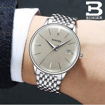 Швейцарские автоматические часы BINGER, мужские деловые часы из нержавеющей стали с ремешком, механические наручные часы с календарем, водоне...