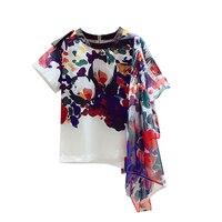 Korean Style Fashion Women T Shirt 2019 Summer New Cotton Casual Fashion Ladies T Shirt Asymmetric Short sleeved Tops Women