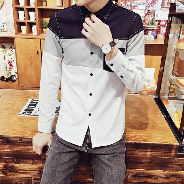 Zeeshant 5xl 2017 otoño para hombre patchwork de manga larga camisa de vestir XXXXXL Estilo Slim Fit Chemise Homme Homme en Smoking de Los Hombres camisas