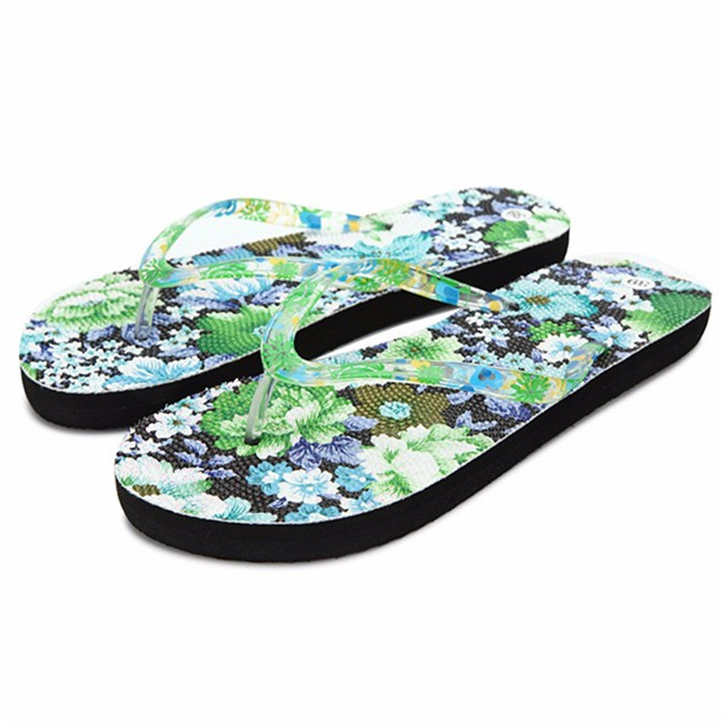 fc3758994d3f Detail Feedback Questions about Summer Style Floral Women Stripe Sandal  Home Toepost Flip Flops Slippers Beach Shoes Printed Flower Sandals Flip  Flops Solid ...