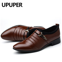 British Formal Dress Men Shoes Slip On Split Leather Pointed