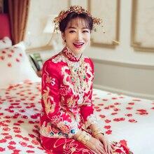 Star Same Style Red Chinese Jurken Embroidery Dress Bride Marry Dragon Costume Cheongsam Wedding Qipao Robe Chinoise Oriental
