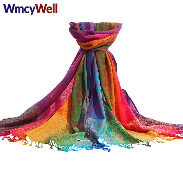 nuovo di zecca 9c8e9 bd94f US $11.11 |WmcyWell Nuovo Modo di Stile Etnico In Cotone Miscela Arcobaleno  Pashmina Delle Donne Elegante Colorful Paisley Morbido Scialle Sciarpa di  ...