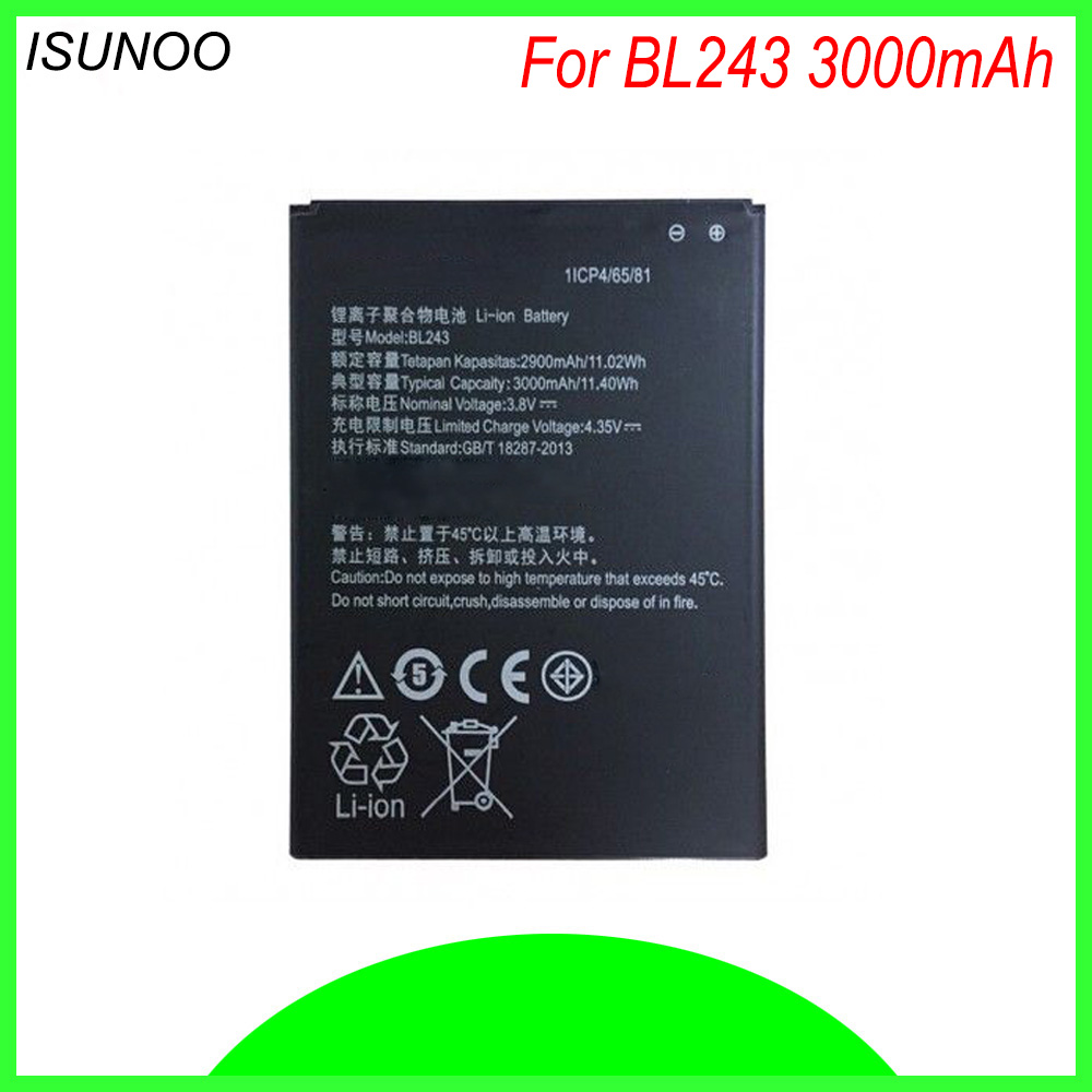 ISUNOO BL243 BL 243 BL-243 <font><b>Battery</b></font> For <font><b>Lenovo</b></font> <font><b>K3</b></font> <font><b>Note</b></font> K50-T5 A7000 A5500 A5600 A7600 3000mAh <font><b>Batteries</b></font> image