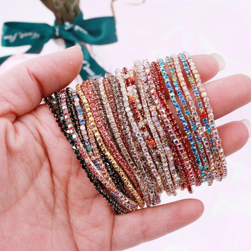 Gold-Bracelets Jewelry Gift Stretch Rhinestone Elastic Wedding-Bridal Bling Femme Fashion