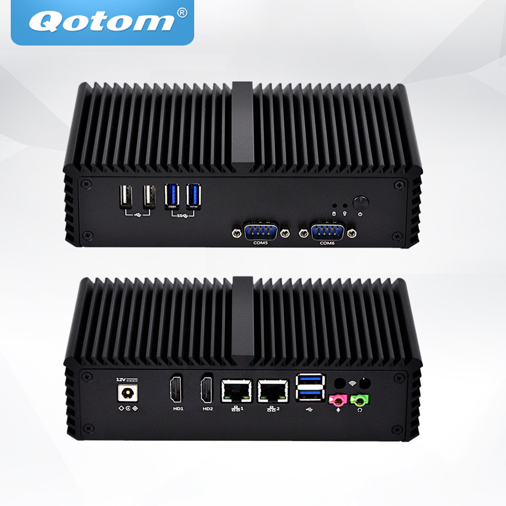 Qotom Mini PC 2 Ethernet lan Celeron 3215U,dual core thin Client Micro Fanless Industrial PC Dual nic X86 Linux Mini Computer hot sale celeron mini pc desktop computers dual lan mini pc x29 j1800 j1900 2 gigabit lan hdmi vga windows 7 win10 ubuntu