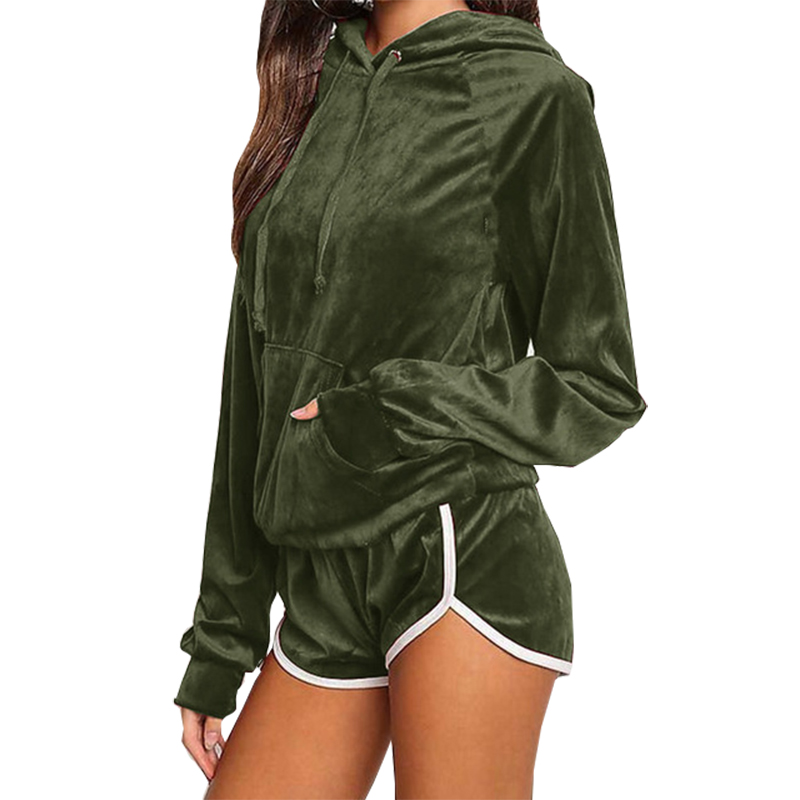 Two Piece Sets Fashion Velvet Women 'S Sets Autumn Sweatshirt Shorts Hoodies  Tracksuits Pullovers Hooded Outerwear