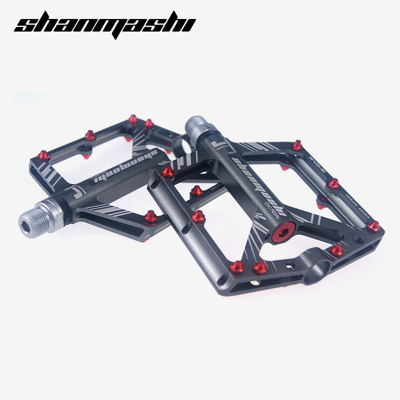 цена на shanmashi Aluminium Alloy bicycle pedal ultralight cycling 8 Bearings non-slip XC DH vtt mtb mountain bike Flat pedals bmx parts