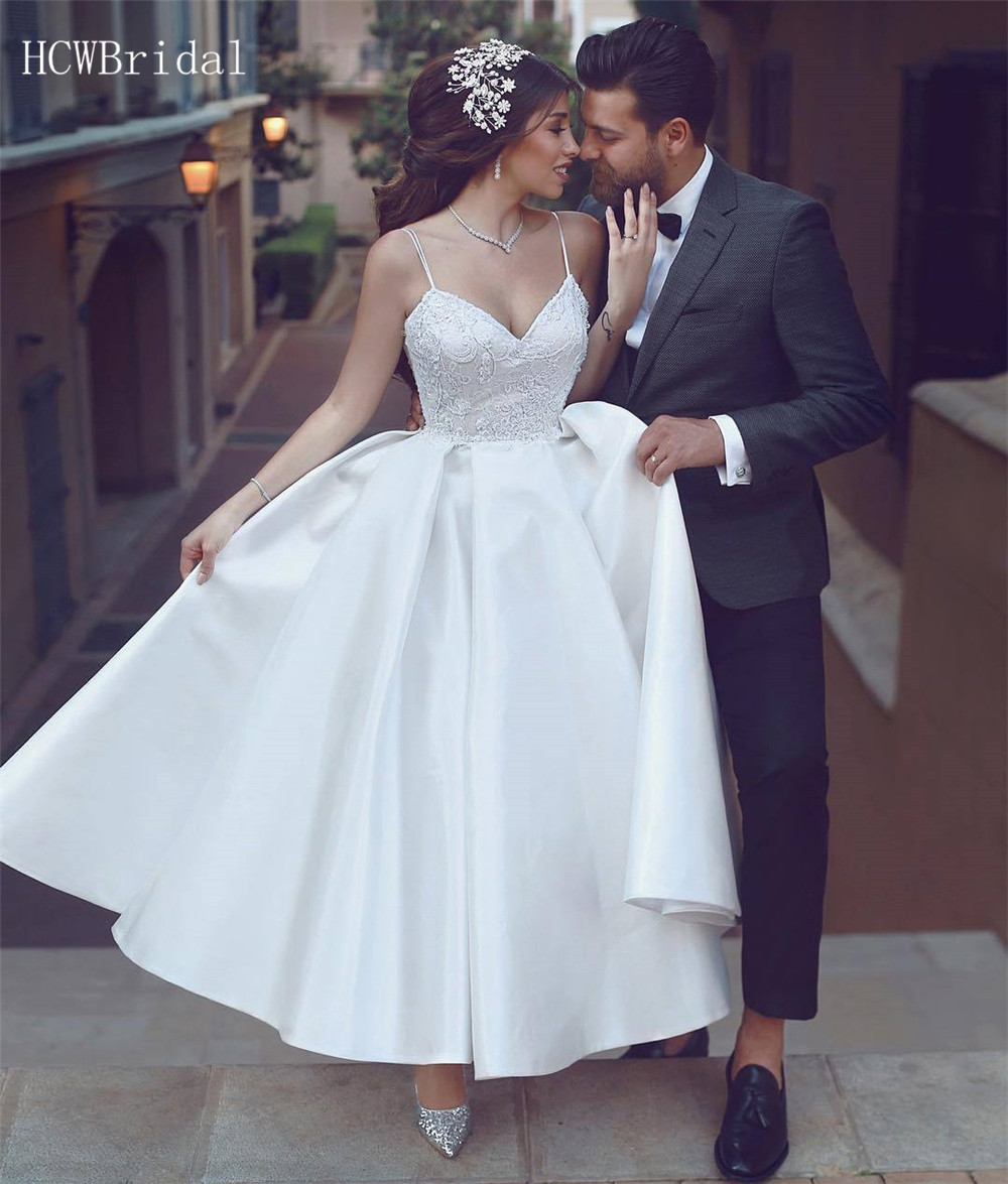 2019 Short Wedding Dresses Backless Spaghetti Strap A Line