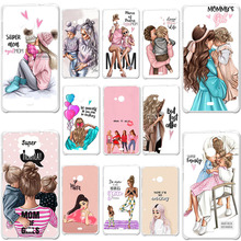 Soft Silicone Case For Microsoft Nokia Lumia 535 N535 5.0 Cover Phone Bumper Baby Black Brown Hair Mom Girl