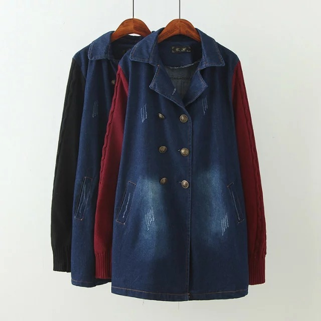 4XL2016 woman patchwork long loosen denim outwear coats women basic coat plus size vintage hole  denim outwear casual coats