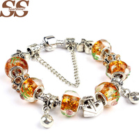 SPARSHINE HOT SALE with Six yellow with decorative pattern of crystal beads and bracelet made of two small pendant Jewellery