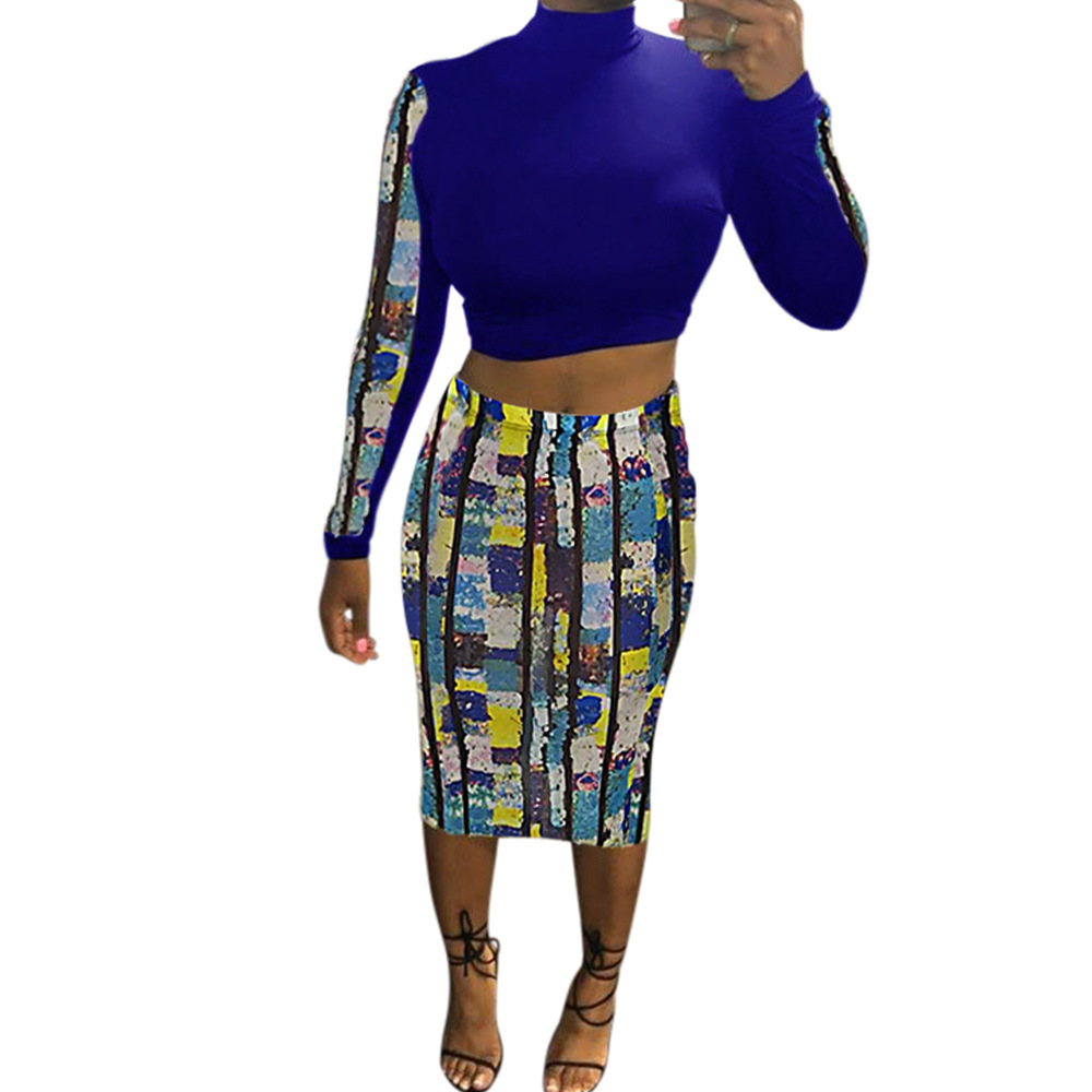 Color Block Patchwork Women Set Casual Geometric Print O Neck Crop Top With Midi Skirt Set Women Elegant Suit Female Two Piece