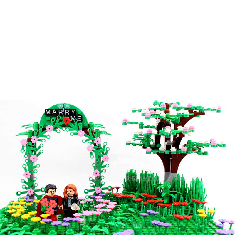 City Garden Grass Flowers Plants Bush Tree DIY Block Brick MOC Part Building Blocks Compatible with Legoingse Assemble Particles