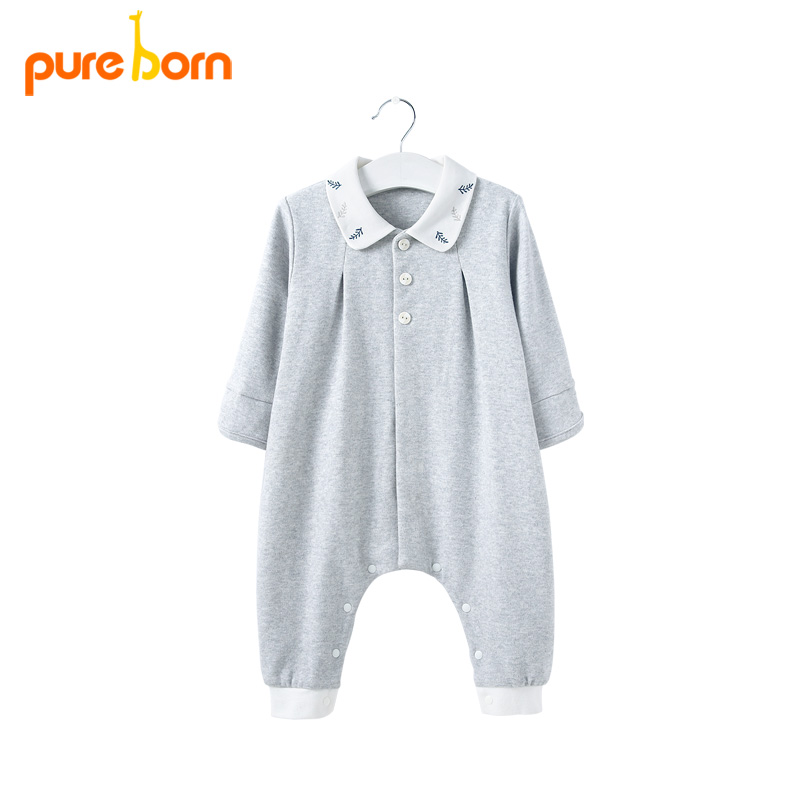Pureborn Baby   Rompers   Newborns Baby Boy Girls Clothes Cotton Infant Jumpsuits Long Sleeve Organic Outfits Autumn Underwear