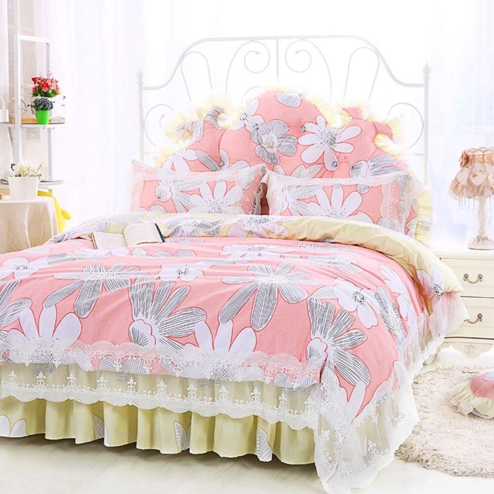 Pink bed sheet design - Korean Princess Pastoral Style Lace Lace Design Flower Pattern Duvet Cover Bed Sheet Set 100