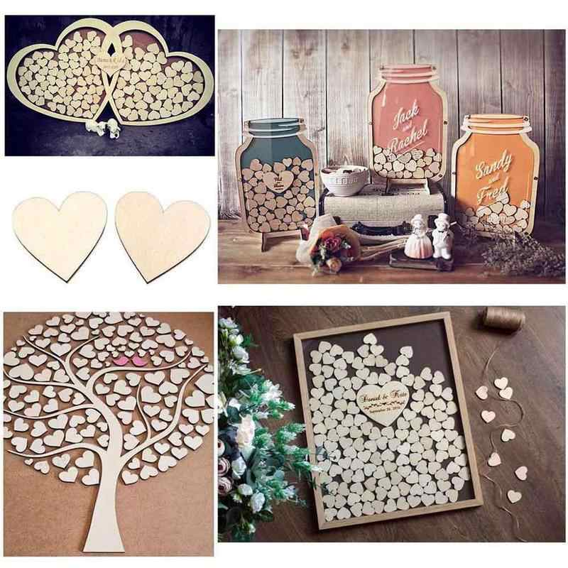 15mm/30mm Decorative Wooden ScrapBooking Craft Unfinished Blank Heart Shaped Natural DIY Craft Supplies Party Wedding Decoration