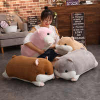 Cartoon Hamster Plush Toy Soft Hamster Long Bolster Cute Stuffed Animals Pillow Kids Birthday Gifts Home Decor
